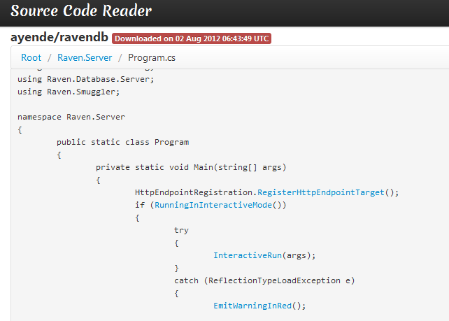 Source Code Reader screenshot