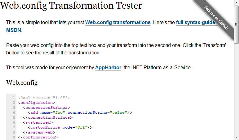 Config transformation tester screenshot