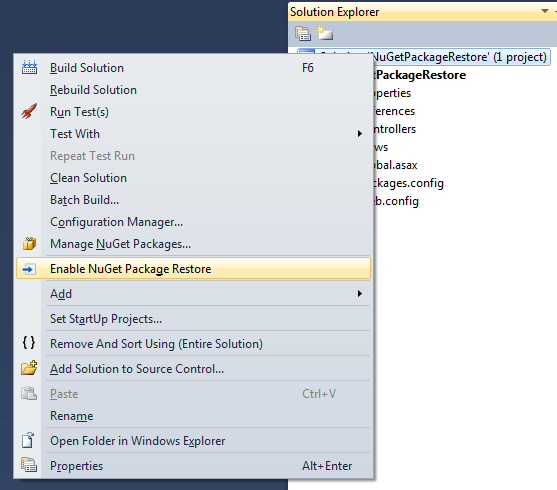 Use NuGet Package Restore to avoid pushing packages to AppHarbor