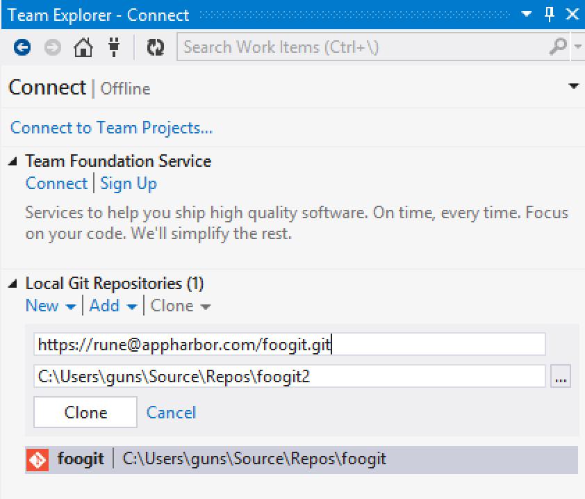 Visual Studio Git Integration - AppHarbor